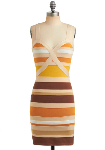 Coconut Grove Dress in Sand - Orange, Yellow, Brown, Tan / Cream, White, Stripes, Party, Casual, Shift, Spaghetti Straps, Short