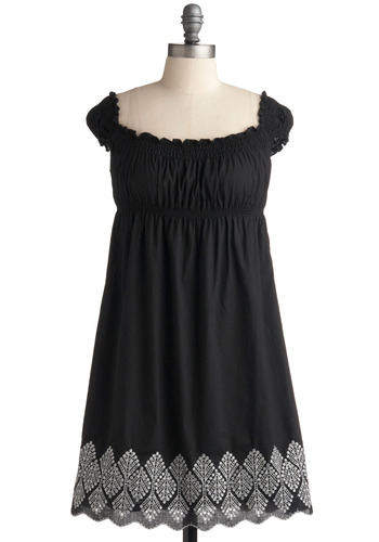 Oslo Excursion Dress | Mod Retro Vintage Printed Dresses | ModCloth.com :  elasticized silver accents noir scalloped