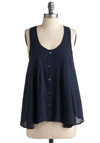 Treasured Moments Top - Blue, Solid, Buttons, Casual, Tank top (2 thick straps), Racerback, Short