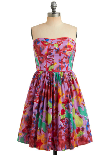 Tropical Punch Dress - Purple, Multi, Party, Casual, A-line, Strapless, Spring, Summer, Mid-length