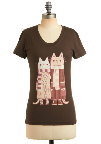 Happy Cat-rimony Tee - Brown, Pink, Tan / Cream, Print with Animals, Casual, Short Sleeves, Mid-length, Brown, Short Sleeve