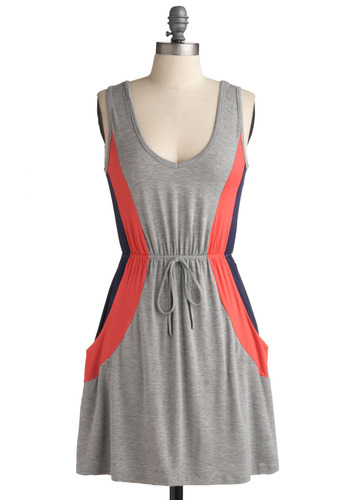 On a Roll-er Rink Dress - Grey, Blue, Pink, Casual, A-line, Sleeveless, Tank top (2 thick straps), Spring, Summer, Short