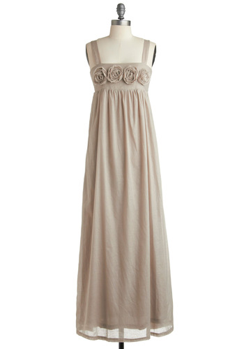 Quartz Sand Dress - Cream, Solid, Flower, Casual, Empire, Maxi, Long