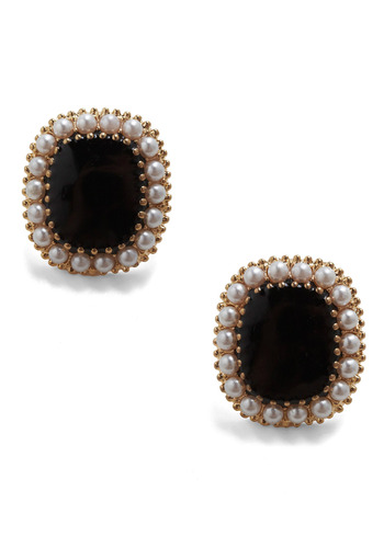 Parlour Room Royalty Earrings - Black, White, Gold, Pearls, Rhinestones, Formal, Prom, Wedding, Party, Work, Casual, Luxe
