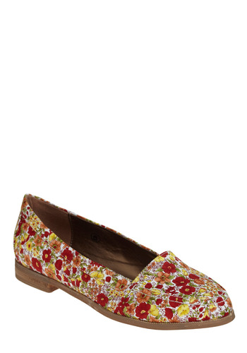 Flower After Flower Flat | Mod Retro Vintage Flats | ModCloth.com :  canvas red orange yellow