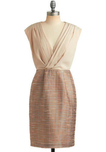 Taupe for the Best Dress | Mod Retro Vintage Printed Dresses | ModCloth.com :  surplice neckline baby pink textured draping