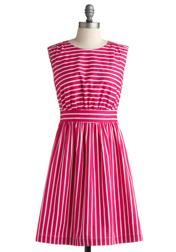 Too Much Fun Dress in Strawberry | Mod Retro Vintage Printed Dresses | ModCloth.com :  striped retro natural waist keyhole detail