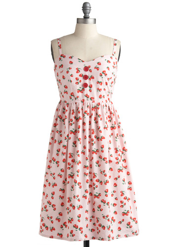 Forever Fields Dress - Pink, Multi, Red, Green, Novelty Print, Buttons, Casual, A-line, Spaghetti Straps, Spring, Summer, Mid-length