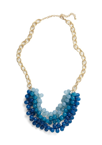 Tidal Crave Necklace - Blue, Gold, Chain, Casual, Statement