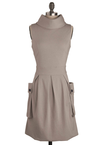 Frock Ballad Dress in Beth - Grey, Solid, Buttons, Pleats, Pockets, Work, Casual, A-line, Sleeveless, Spring, Fall, Nautical, Mid-length, Military