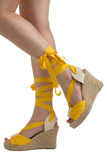 Pina Colada Wedge | Mod Retro Vintage Wedges | ModCloth.com :  summery open toe cream canvas