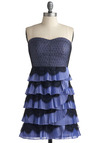 Crème de Violette Dress - Purple, Black, Fringed, Lace, Pleats, Tiered, Special Occasion, Prom, Party, A-line, Strapless, 80s, Mid-length