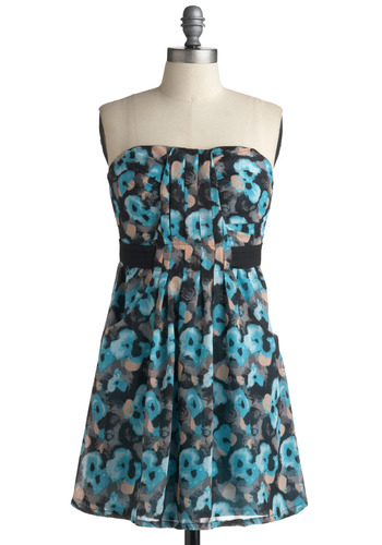 True Bluebird Dress | Mod Retro Vintage Printed Dresses | ModCloth.com :  abstract billowy hip pockets sheath dress