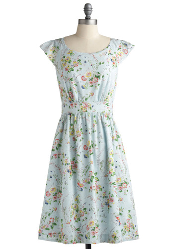 Kindhearted Cousin Dress | Mod Retro Vintage Printed Dresses | ModCloth.com :  sky blue flutter sleeves sweet hip pockets