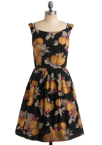 Dinner Belle Dress in Fruit by Emily and Fin - Black, Multi, Novelty Print, Casual, A-line, Sleeveless, Tank top (2 thick straps), Spring, Summer, Long, International Designer