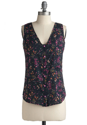 Just Wanna Fly Tank - Blue, Multi, Orange, Green, Purple, Floral, Buttons, Casual, Sleeveless, Spring, Summer, Tank top (2 thick straps), Mid-length