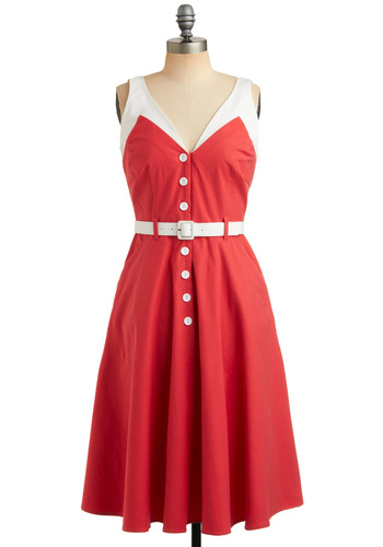Sweet Coral-ine Dress - Red, White, Buttons, Trim, Casual, Vintage Inspired, 40s, A-line, Long