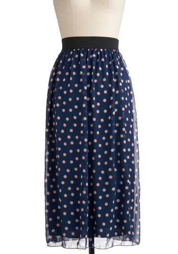 Lively Your Life Skirt - Blue, Orange, White, Polka Dots, Casual, Maxi, Spring, Summer, Print, Long