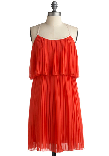 Shaved Ice As Nice Dress - Red, Solid, Cutout, Pleats, Party, Casual, A-line, Spaghetti Straps, Vintage Inspired, 20s, 30s, 40s, Mid-length