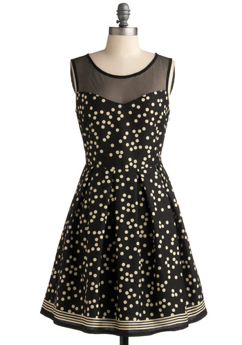 Dot Necessarily Dress - Black, White, Polka Dots, Pleats, Party, A-line, Short Sleeves, Mid-length