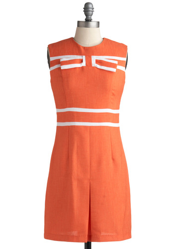 Pop Girl Dress - Orange, White, Casual, Vintage Inspired, 60s, Shift, Sleeveless, Mid-length