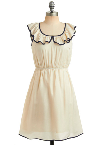 C'est Parfait Dress - Cream, Blue, Ruffles, Trim, Casual, A-line, Vintage Inspired, 60s, White, Nautical, Short