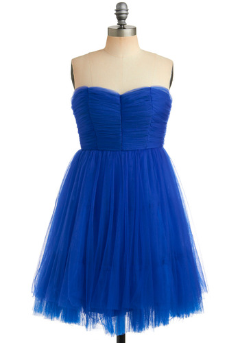 Start the Sapphire Dress | Mod Retro Vintage Printed Dresses | ModCloth.com :  fluttery ruching twirly tulle