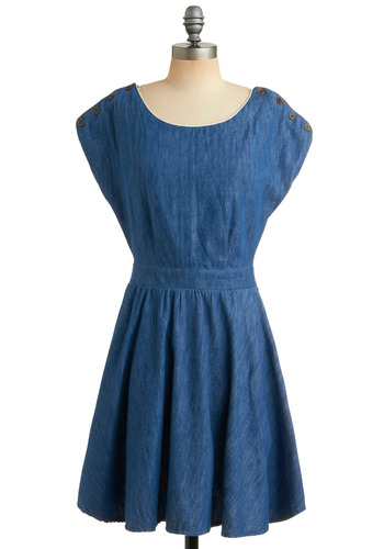 Coy in Denim Dress | Mod Retro Vintage Printed Dresses | ModCloth.com :  piping blue and white summer dress open back