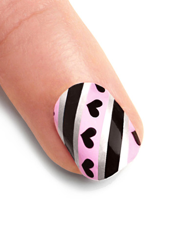You've Got Nail Stickers in Love Lines - Pink, Black, Silver, Stripes, Novelty Print, Casual