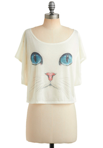 I Want It Meow Top - White, Blue, Pink, Print with Animals, Casual, Short Sleeves, Spring, Summer, Short, 80s