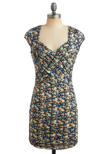 Ruched Up and Ready to Go Dress | Mod Retro Vintage Printed Dresses | ModCloth.com :  faux wrap yellow sheath dress open back
