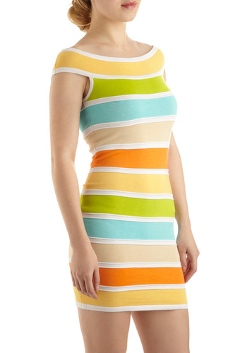 Citrus Salad Dress - Stripes, Casual, Sheath / Shift, Cap Sleeves, Spring, Summer, Multi, Orange, Yellow, Green, Blue, 80s, Short