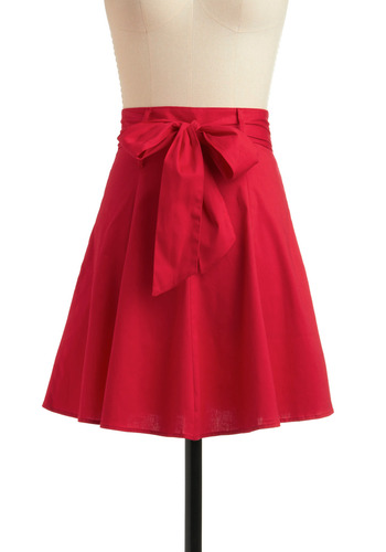 Musée de Montmartre Skirt - Red, Solid, Bows, Casual, A-line, Spring, Summer, Short