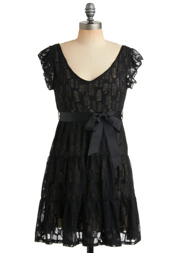 Networkin' It Dress - Black, Lace, Tiered, Special Occasion, Wedding, Party, A-line, Cap Sleeves, Short