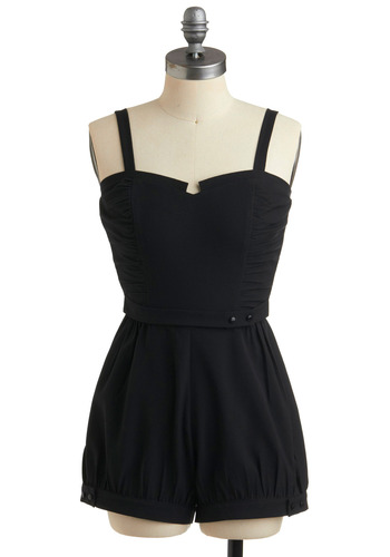 Betty on the Beach Romper by Stop Staring! - Black, Solid, Buttons, Casual, Urban, Spaghetti Straps, Spring, Summer, Rockabilly, Pinup, Vintage Inspired, 40s, 50s, Long