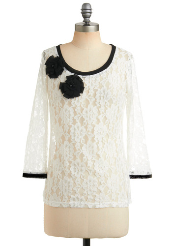 Achievement Awards Dinner Top - White, Black, Floral, Flower, Lace, Trim, Formal, Party, 3/4 Sleeve, Mid-length