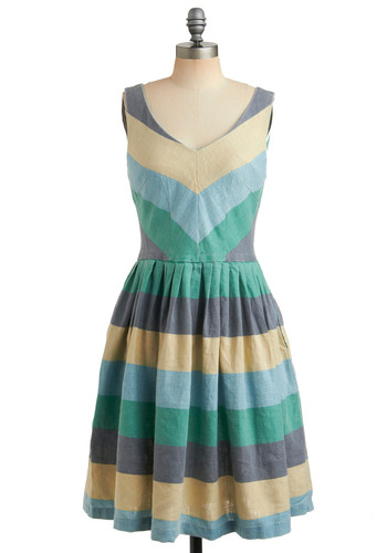 Beach House Barbecue Dress in Hoedown by Knitted Dove - Stripes, Casual, A-line, Sleeveless, Tank top (2 thick straps), Spring, Summer, Multi, Yellow, Green, Blue, Grey, Long, Chevron