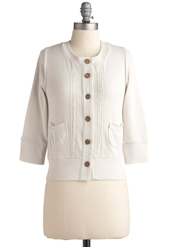 Ice Box Cake Cardigan by Knitted Dove - White, Buttons, Lace, Pockets, Work, Casual, 3/4 Sleeve, Short