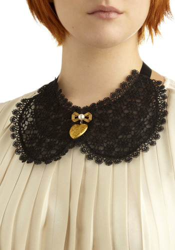 If You Need Me, Collar - Black, Gold, Floral, Lace, Peter Pan Collar, Formal, Statement
