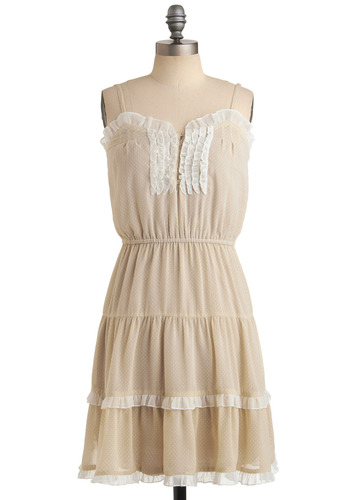 Merry in Marin Dress - Tan, White, Ruffles, Tiered, Trim, Casual, A-line, Spaghetti Straps, Spring, Summer, Mid-length, Sheer