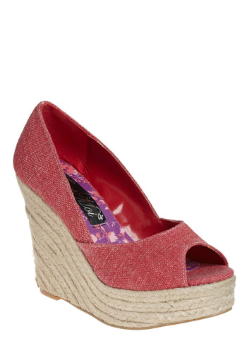 Toned Down Wedge - Red, Cutout, Casual, Spring, Summer, Wedge