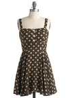 EatSleepWear Dress - White, Polka Dots, Bows, Buttons, Casual, A-line, Empire, Tank top (2 thick straps), Spring, Summer, Brown, Short