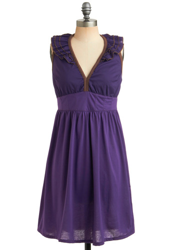 Jam Session Dress by Knitted Dove - Purple, Solid, Ruffles, Casual, A-line, Halter, Mid-length