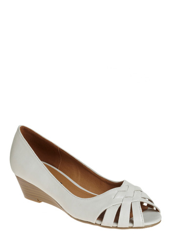 My Only Taupe Wedge - White, Solid, Cutout, Casual, Spring, Summer, Wedge