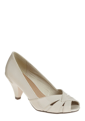 Lovely Luster Heel - Cream, Solid, Cutout, Wedding, Party, Work, Casual, 30s, 40s, 50s