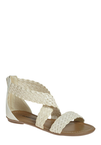 Ivory Happy for You Sandal - White, Braided, Spring, Summer
