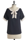 Modern Madeline Top - Blue, White, Bows, Short Sleeves, Mid-length, 30s, 40s, Nautical, Tie Neck, Best Seller, Work, Pinup, Blue, Short Sleeve