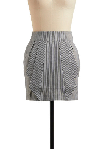 Awaiting an Adorer Skirt - Stripes, Exposed zipper, Pleats, Pockets, Casual, Mini, Spring, Summer, Short, Black, White
