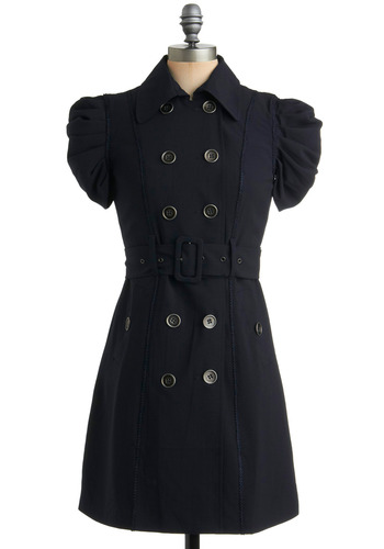 Trench in the Works Dress | Mod Retro Vintage Solid Dresses | ModCloth.com :  ruched sleeves belt princess seams natural waist