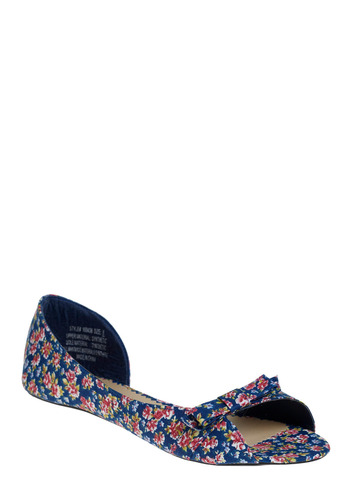 Posies and Bowsies Flat | Mod Retro Vintage Flats | ModCloth.com :  bow peep toe posy print blue and floral